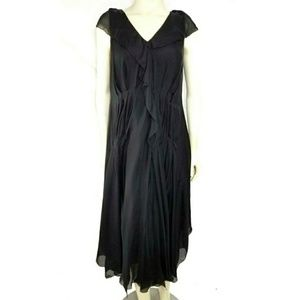 Robert Rodriguez Silk Pleated Ruffled Hi-Lo Dress